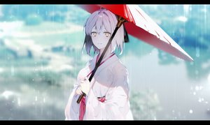 Rating: Safe Score: 24 Tags: fate/grand_order fate_(series) japanese_clothes kimono leo_(feeling_goooood) okita_souji_(fate) rain umbrella water User: Dreista