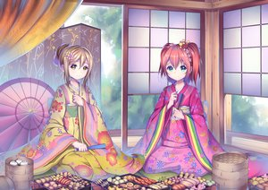 Rating: Safe Score: 62 Tags: aliasing brown_hair chinese_clothes fan food green_eyes headdress kunikida_hanamaru kurosawa_ruby love_live!_school_idol_project love_live!_sunshine!! red_hair short_hair twintails umbrella xiaosan_ye yellow_eyes User: otaku_emmy