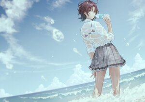 Rating: Safe Score: 106 Tags: asakura_tooru blue_eyes bra brown_hair clouds drink idolmaster idolmaster_shiny_colors school_uniform see_through shirt short_hair skirt sky underwear water yasukura_(shibu11) User: BattlequeenYume