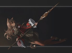 Rating: Safe Score: 56 Tags: animal_ears arknights hara_shoutarou long_hair pantyhose red_eyes skyfire_(arknights) spear tail weapon User: BattlequeenYume