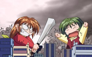 Rating: Safe Score: 15 Tags: 2girls bow building chibi city clouds comic_party dress fan glasses green_hair inagawa_yuu long_hair ohba_eimi red_hair short_hair sky vector weapon User: Oyashiro-sama
