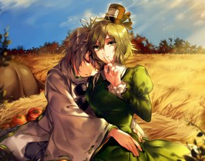 Rating: Safe Score: 63 Tags: 2girls autumn dress gray_hair green_eyes green_hair hat hug hug_(yourhug) japanese_clothes mononobe_no_futo short_hair sleeping soga_no_tojiko touhou User: Flandre93