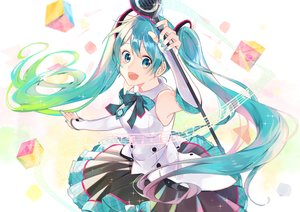 Rating: Safe Score: 13 Tags: aliasing blue_hair bow elbow_gloves gloves hatsune_miku long_hair microphone omutatsu skirt tie twintails vocaloid User: RyuZU
