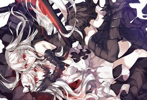 Rating: Safe Score: 140 Tags: 2girls aircraft_carrier_hime anthropomorphism armor dress hug kantai_collection kureaki_(exit) long_hair midway_hime red_eyes thighhighs white_hair User: Flandre93