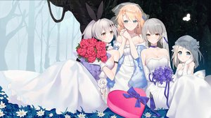 Rating: Safe Score: 61 Tags: anthropomorphism blonde_hair bow breasts butterfly choker cleavage dress elbow_gloves five_seven_(girls_frontline) flowers g36_(girls_frontline) girls_frontline gloves grass gray_hair group heart long_hair mp5_(girls_frontline) ponytail ribbons short_hair suisai. vector_(girls_frontline) wedding_attire User: sadodere-chan
