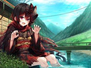 Rating: Safe Score: 38 Tags: ayakashi_kyoushuutan bandage black_hair blush building clouds fang grass hasumi_(hasubatake39) japanese_clothes kimono lose mask monobeno pink_eyes scarf short_hair sky water User: Dreista