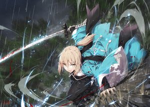 Rating: Safe Score: 67 Tags: blonde_hair blood fate/grand_order fate_(series) gabiran japanese_clothes okita_souji orange_eyes ponytail rain signed sword water weapon User: Nepcoheart