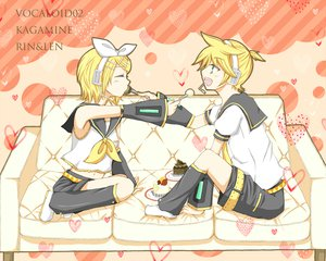 Rating: Safe Score: 12 Tags: cake couch food kagamine_len kagamine_rin male vocaloid User: HawthorneKitty