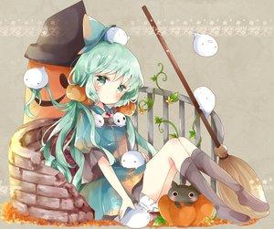 Rating: Safe Score: 53 Tags: animal aqua aqua_eyes aqua_hair bloomers boots cat dress flowers halloween hat original pumpkin tsukiyo_(skymint) witch witch_hat User: BattlequeenYume