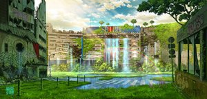 Rating: Safe Score: 44 Tags: building city clouds graffiti grass nobody original rainbow ruins scenic signed sky tokyogenso tree water waterfall watermark User: otaku_emmy