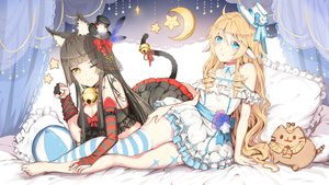 Rating: Safe Score: 63 Tags: 2girls animal_ears aqua_eyes barefoot bell black_hair blonde_hair bow catgirl collar dress elbow_gloves feathers gloves hat lolita_fashion long_hair original pointed_ears ribbons tagme_(artist) thighhighs wink yellow_eyes User: BattlequeenYume