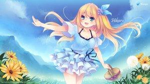 Rating: Safe Score: 111 Tags: aizawa_hikaru aqua_eyes blonde_hair bow clouds flowers grass long_hair microsoft os-tan skirt sky User: feiyuelisky