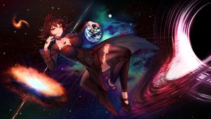 Rating: Safe Score: 62 Tags: brown_hair earth hyanna-natsu original planet red_eyes short_hair space stars watermark User: sadodere-chan