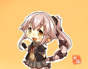 Rating: Safe Score: 19 Tags: anthropomorphism blush chibi gloves kantai_collection long_hair orange pink_hair ponytail skirt taisa_(kari) yellow_eyes yura_(kancolle) User: RyuZU