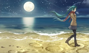 Rating: Safe Score: 115 Tags: beach boots green_hair hatsune_miku kari_kenji long_hair moon pantyhose scarf school_uniform skirt twintails vocaloid water User: Flandre93