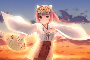 Rating: Safe Score: 70 Tags: clouds fan flowers green_eyes hiiragi_hajime japanese_clothes miko orange_hair short_hair sky sunset umi_monogatari urin_(umi_monogatari) User: minabiStrikesAgain