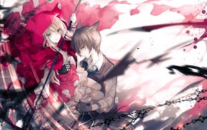 Rating: Safe Score: 25 Tags: anthropomorphism big_bad_wolf blonde_hair blue_eyes brown_eyes brown_hair cape gloves hoodie little_red_riding_hood long_hair male original ra-bit red_riding_hood short_hair spear weapon User: RyuZU