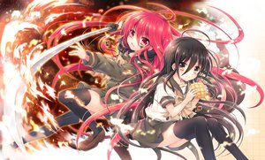 Rating: Safe Score: 69 Tags: alastor black_hair brown_eyes fire food long_hair red_eyes red_hair seifuku shakugan_no_shana shana skirt sword tachitsu_teto thighhighs weapon zettai_ryouiki User: luckyluna