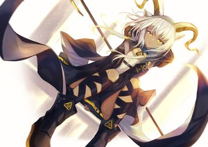 Rating: Safe Score: 48 Tags: animal_ears arknights beeswax_(arknights) boots dark_skin gefujin horns long_hair twintails white_hair yellow_eyes User: Nepcoheart