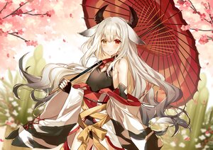 Rating: Safe Score: 47 Tags: animal_ears bicolored_eyes blush bow cowgirl en_(shisui_no_utage) flat_chest flowers horns japanese_clothes leotard long_hair original petals tail umbrella User: BattlequeenYume