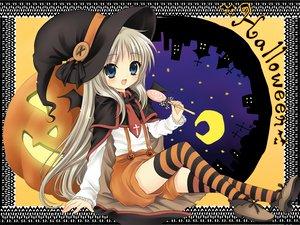 Rating: Safe Score: 91 Tags: candy halloween hanabana_tsubomi hat little_busters! loli lollipop noumi_kudryavka pumpkin thighhighs witch_hat zettai_ryouiki User: 秀悟