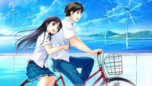 Rating: Safe Score: 71 Tags: bicycle clouds game_cg habane_kotori kono_oozora_ni_tsubasa_wo_hirogete minase_aoi sky water windmill User: Maboroshi