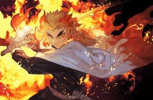 Rating: Safe Score: 18 Tags: all_male blonde_hair cape fire katana kimetsu_no_yaiba lack long_hair male rengoku_kyoujurou sword uniform weapon yellow_eyes User: otaku_emmy
