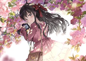 Rating: Safe Score: 69 Tags: black_hair blush brown_eyes camera dress flowers long_hair original saya_(mychristian2) shade User: BattlequeenYume