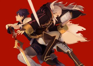 Rating: Safe Score: 57 Tags: blue_hair book boots brown_eyes chrom_(fire_emblem) fire_emblem long_hair male my_unit_(fire_emblem) pararade short_hair sword torn_clothes weapon white_hair User: minabiStrikesAgain