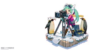 Rating: Safe Score: 14 Tags: animal boots camera dan-evan hatsune_miku long_hair penguin scarf twintails vocaloid watermark white User: RyuZU