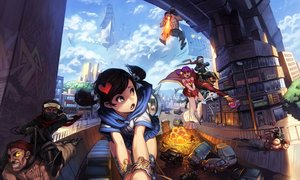 Rating: Safe Score: 255 Tags: aircraft animal black_hair boots brown_hair building car cat city clouds eyepatch fang fire graffiti group hat mask ninja original pirate purple_hair ribbons saejin_oh scarf school_uniform short_hair signed skirt sky topless twintails weapon witch User: luckyluna