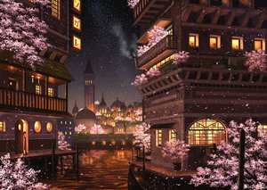 Rating: Safe Score: 70 Tags: boat building cherry_blossoms city flowers night original pei_(sumurai) petals scenic stars water User: FormX