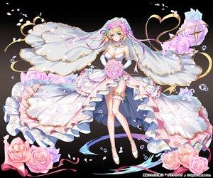 Rating: Safe Score: 130 Tags: applecaramel_(acaramel) blonde_hair breasts cleavage dress elbow_gloves flowers garter gloves gradient green_eyes headdress kurokishi_to_shiro_no_maou petals ribbons rose short_hair water wedding_attire User: otaku_emmy