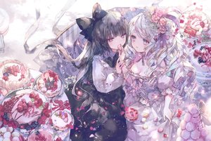 Rating: Safe Score: 84 Tags: 2girls aliasing black_hair bow cake flowers food fruit goth-loli gray_eyes lolita_fashion long_hair onineko original rose strawberry white_hair User: BattlequeenYume
