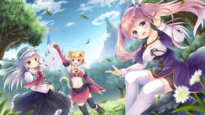 Rating: Safe Score: 46 Tags: animal_ears bell blonde_hair blue_eyes blush building cape catgirl clouds dress flowers grass gray_hair hoodie original purple_eyes purple_hair sky tail thighhighs tree twintails yellow_eyes yorarry User: BattlequeenYume