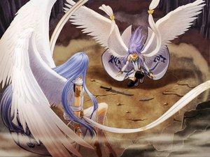 Rating: Safe Score: 32 Tags: angel long_hair purple_hair sword tagme weapon wings User: Oyashiro-sama