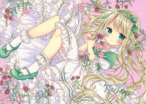 Rating: Safe Score: 56 Tags: aqua_eyes blonde_hair blush braids dress flowers loli lolita_fashion long_hair original puu_(kari---ume) socks User: BattlequeenYume