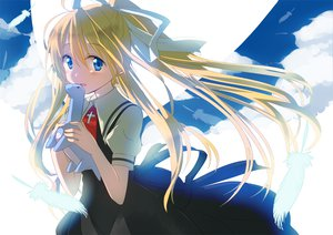 Rating: Safe Score: 51 Tags: air blonde_hair blue_eyes blush clouds dress feathers gochou_(comedia80) kamio_misuzu long_hair ribbons sky User: Maboroshi