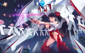 Rating: Safe Score: 39 Tags: black_hair bodysuit breasts building city cleavage japanese_clothes long_hair magic mecha mhk_(mechamania) miko night original ponytail purple_eyes sky stars wand watermark User: luckyluna