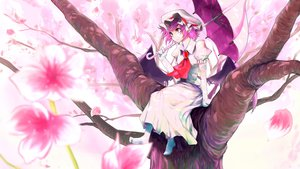 Rating: Safe Score: 50 Tags: cherry_blossoms dress elbow_gloves flowers gloves hat kanchigai purple_hair red_eyes remilia_scarlet short_hair touhou tree umbrella vampire User: C4R10Z123GT