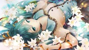 Rating: Safe Score: 116 Tags: aqua_eyes aqua_hair flowers hatsune_miku long_hair twintails vocaloid User: luckyluna