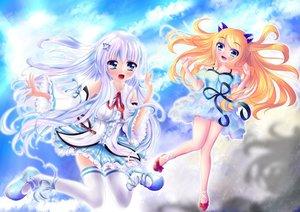 Rating: Safe Score: 25 Tags: 2girls aizawa_hikaru aizawa_lei aqua_eyes clouds dress long_hair microsoft orange_hair os-tan ribbons skirt sky sweetcloud thighhighs white_hair User: gnarf1975