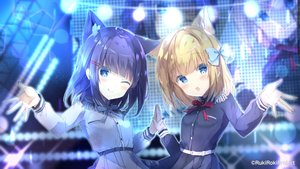Rating: Safe Score: 60 Tags: 2girls animal_ears aqua_eyes blonde_hair blue_hair blush catgirl dress fang rukiroki_channel saeki_sora sasugano_roki sasugano_ruki short_hair uniform wink User: 蕾咪