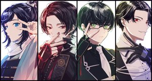 Rating: Safe Score: 18 Tags: all_male anthropomorphism armor black_hair blue_eyes buzen_gou close glasses gloves green_eyes japanese_clothes kashuu_kiyomitsu kotegiri_gou male ponytail red_eyes scarf suit tie touken_ranbu yamada_chickenko yamato-no-kami_yasusada User: otaku_emmy