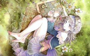 Rating: Safe Score: 146 Tags: atelier_totori barefoot brown_hair dress flowers grass hat kishida_mel long_hair tagme totooria_helmold User: dryads99864