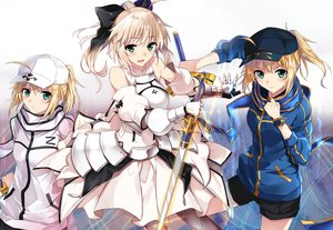 Rating: Safe Score: 115 Tags: aliasing aqua_eyes armor artoria_pendragon_(all) blonde_hair fate/grand_order fate_(series) fate/stay_night fate/unlimited_codes green_eyes hat mysterious_heroine_x saber saber_lily shorts sword tsuedzu weapon User: Flandre93