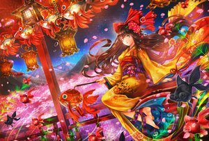 Rating: Safe Score: 81 Tags: animal ankoro barefoot bow brown_hair bubbles fish gray_eyes headdress japanese_clothes long_hair original scenic User: Flandre93
