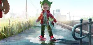 Rating: Safe Score: 60 Tags: grass green_hair koiwai_yotsuba loli syo5 teddy_bear yotsubato! User: FormX