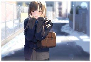 Rating: Safe Score: 68 Tags: blush brown_eyes brown_hair hinoshita_akame idolmaster idolmaster_cinderella_girls long_hair mizumoto_yukari signed snow winter User: RyuZU