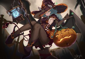 Rating: Safe Score: 152 Tags: aqua_hair breasts cang_yue_xue_feng elbow_gloves gloves green_eyes halloween hat horns long_hair moon night original pantyhose pumpkin sideboob signed witch_hat User: RyuZU